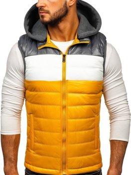 Žltá pánska vesta s kapucňou Bolf 6105
