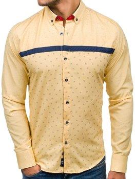 Žltá pánska vzorovaná košeľa s dlhými rukávmi BOLF 6903