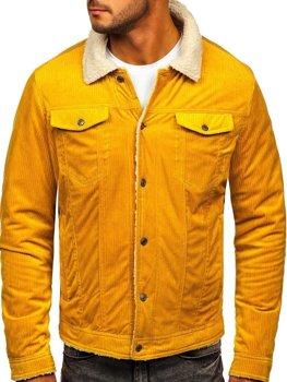 Žltá pánska zateplená menčestrová bunda Bolf 1179