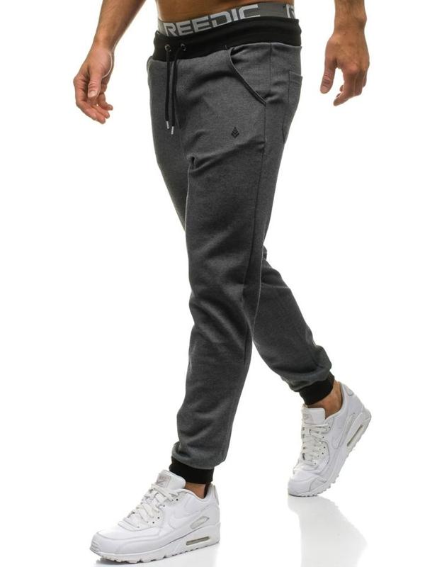 Antracitové pánske jogger tepláky BOLF 1139