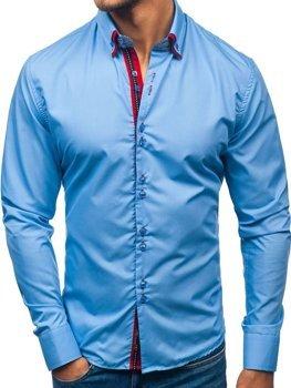 Blankytná pánska elegantá košeľa s dlhými rukávmi BOLF 2785