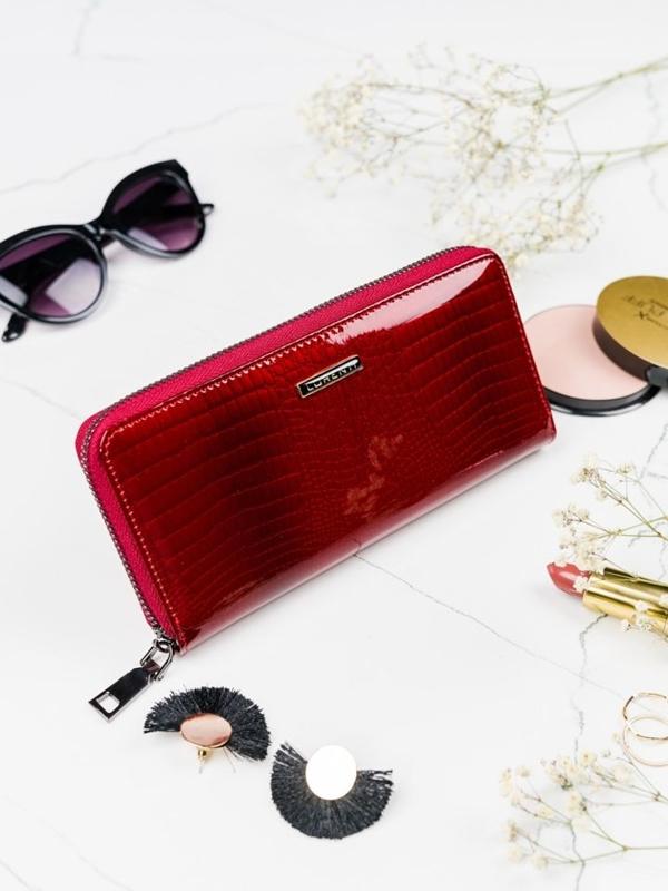 Červená dámska kožená peňaženka 2082