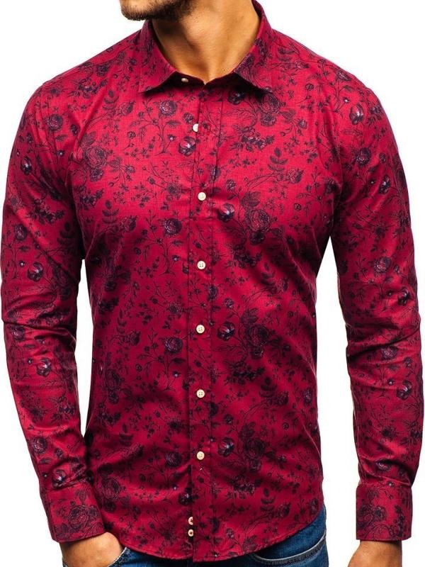Červená pánska vzorovaná košeľa s dlhými rukávmi BOLF 200G7