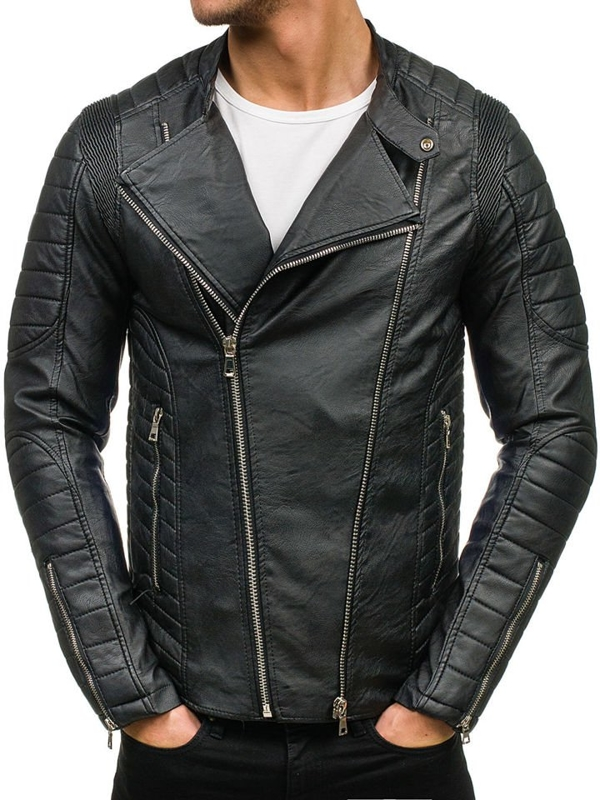 Čierna pánska bunda z ekokože BOLF 9129