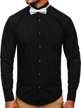 Čierna pánska elegantá košeľa s dlhými rukávmi BOLF 4702-A motýlik + manžetové gombíky