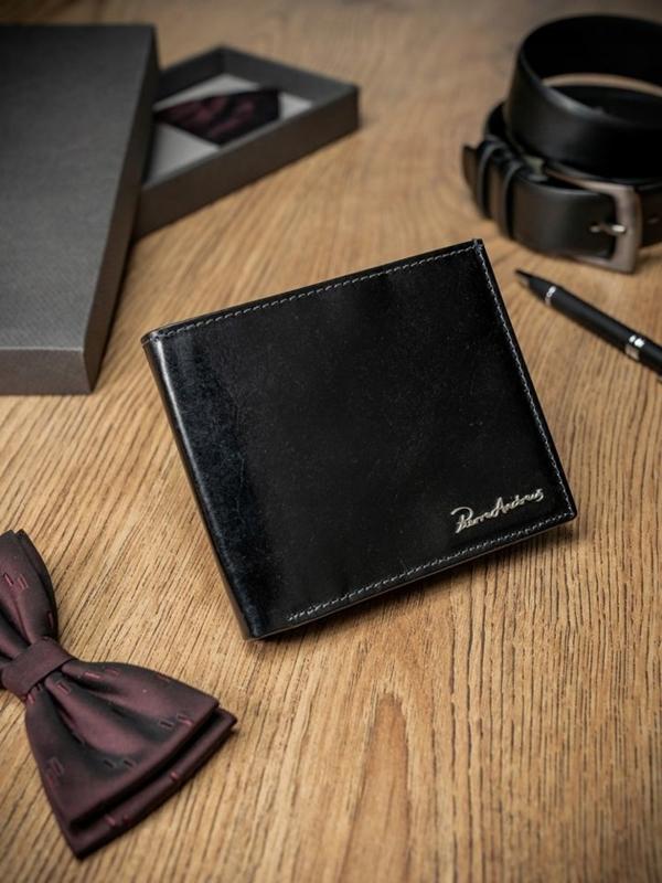 Čierna pánska kožená peňaženka 1690