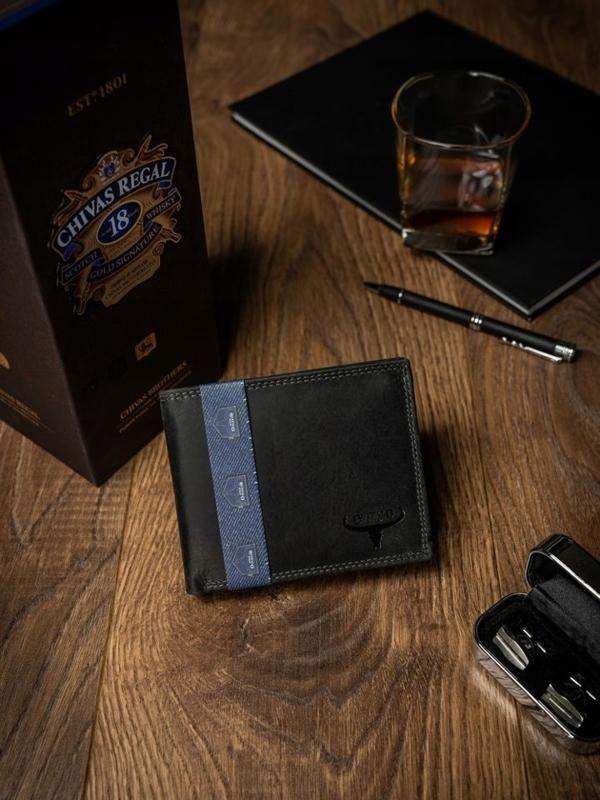 Čierna pánska kožená peňaženka 2223