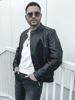 Čierna pánska koženková bunda BOLF 1073-A