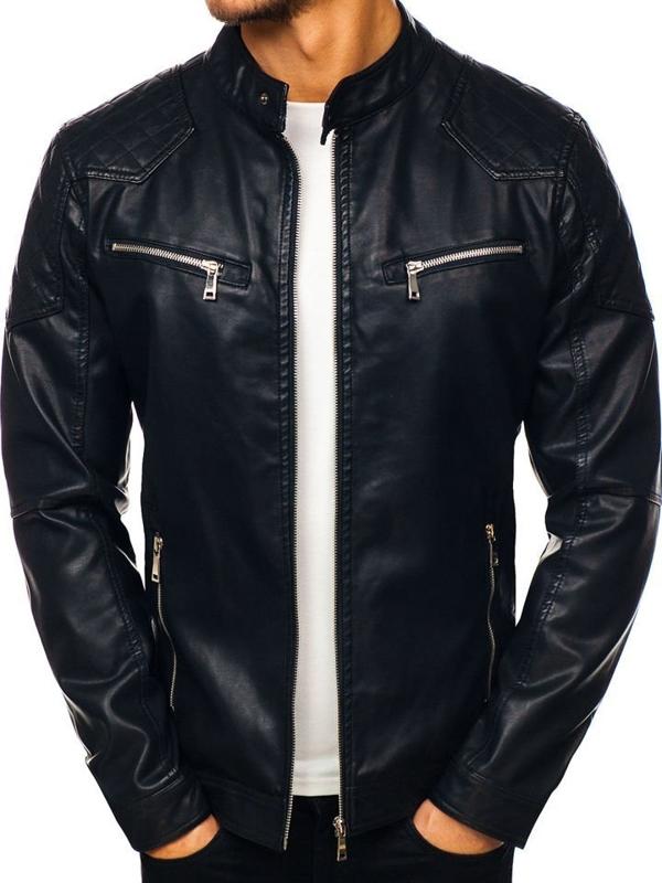 Čierna pánska koženková bunda BOLF 1078