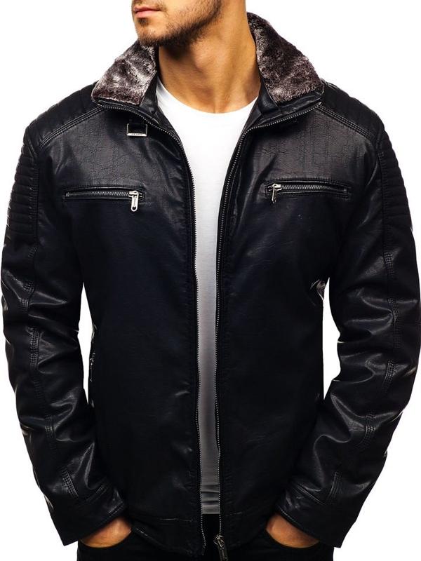 Čierna pánska koženková bunda BOLF EX832