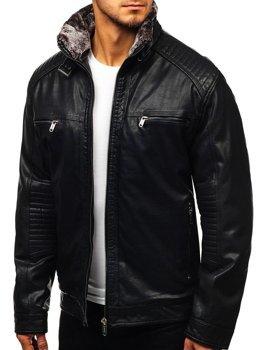 Čierna pánska koženková bunda BOLF EX834