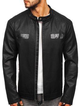 Čierna pánska koženková bunda Bolf  1122
