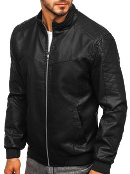 Čierna pánska koženková bunda Bolf  1123