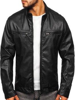 Čierna pánska koženková bunda Bolf  1131