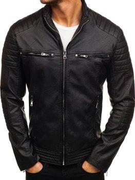 Čierna pánska koženková bunda Bolf 9103
