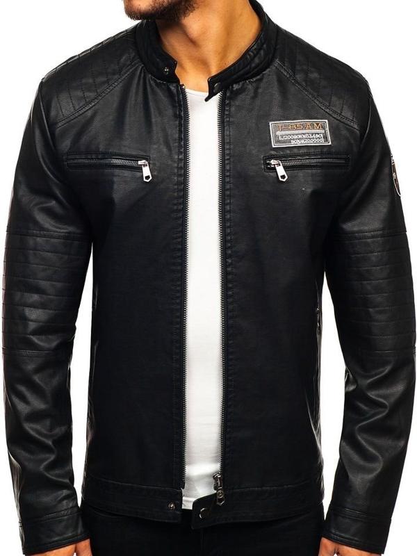 Čierna pánska koženková bunda Bolf 92580