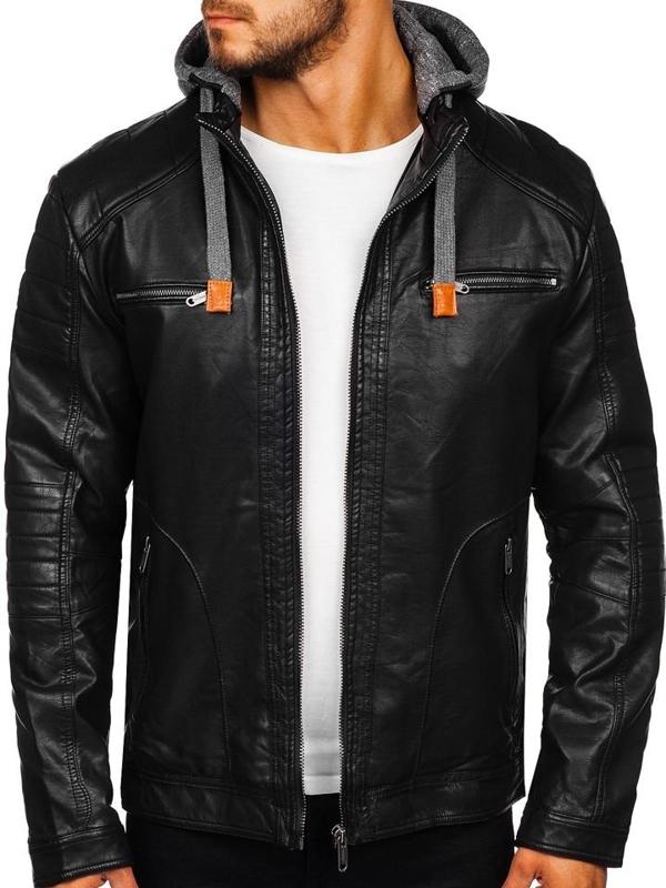 Čierna pánska koženková bunda Bolf EX707