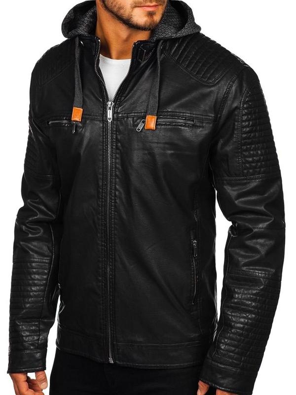 Čierna pánska koženková bunda Bolf EX891