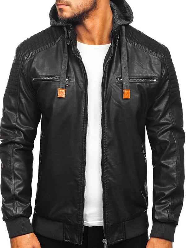 Čierna pánska koženková bunda Bolf EX895