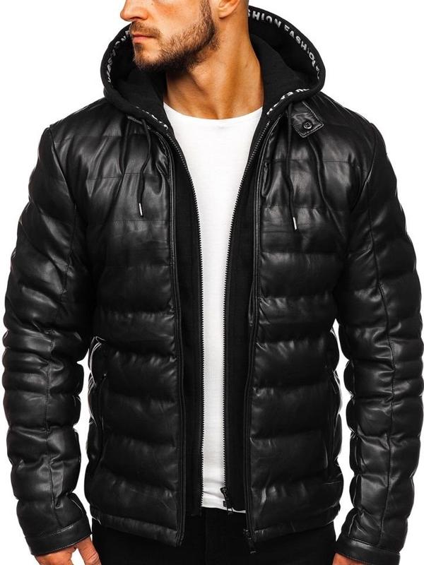 Čierna pánska koženková bunda s kapucňou Bolf 5831