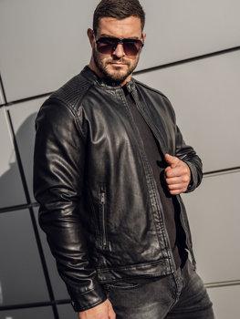 Čierna pánska zateplená motorkárska koženková bunda Bolf 92532