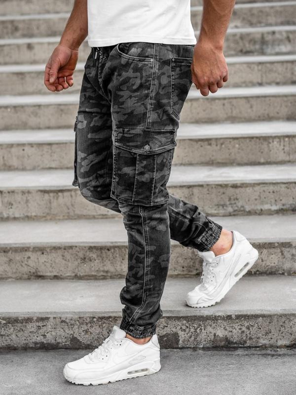 Čierne maskáčové pánske kapsáčové joggery s opaskom Bolf RB9491DT