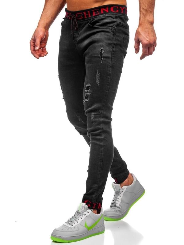 Čierne pánske rifľové joggery Bolf KA1131