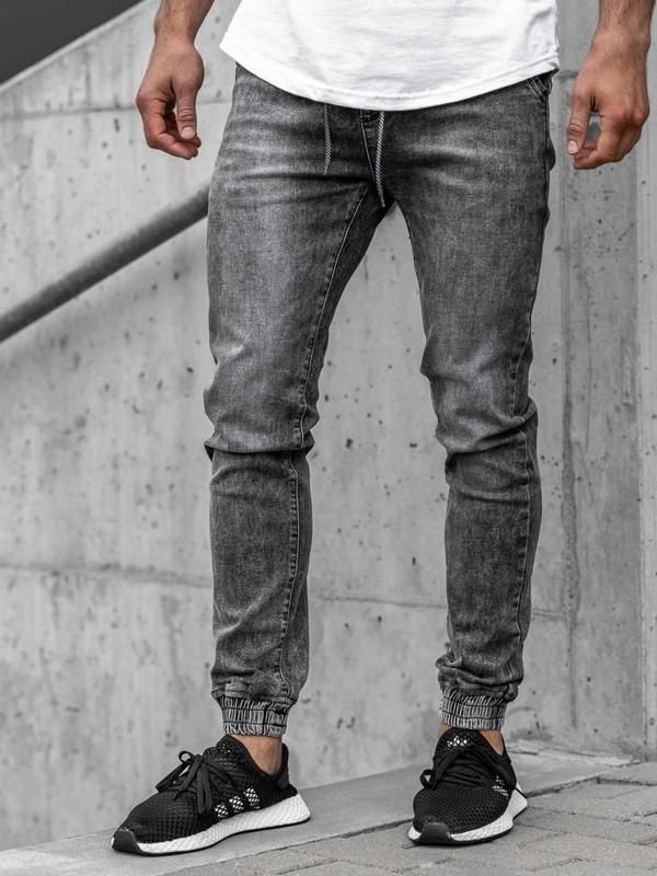 Čierne pánske rifľové joggery  Bolf KA1208
