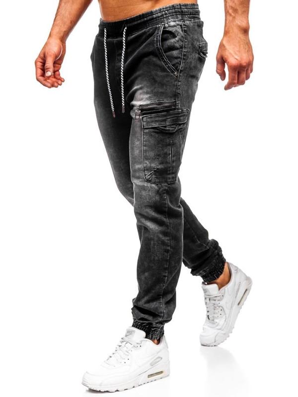 Čierne pánske rifľové joggery Bolf  KA687