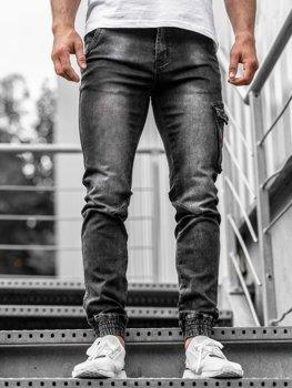 Čierne pánske rifľové joggery Bolf  KA738