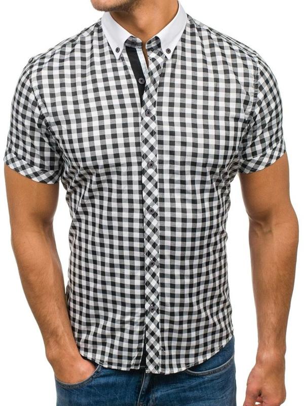 Čierno-biela pánska kockovaná košeľa s krátkymi rukávmi BOLF 5202