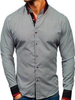 Čierno-biela pánska prúžkovaná košeľa s dlhými rukávmi BOLF 2751