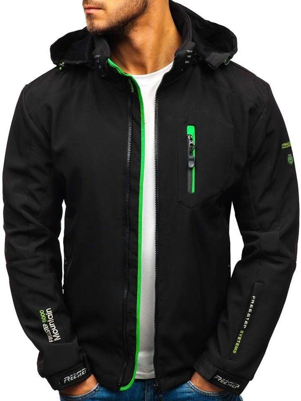Čierno-zelená pánska softshellová bunda BOLF P135-A