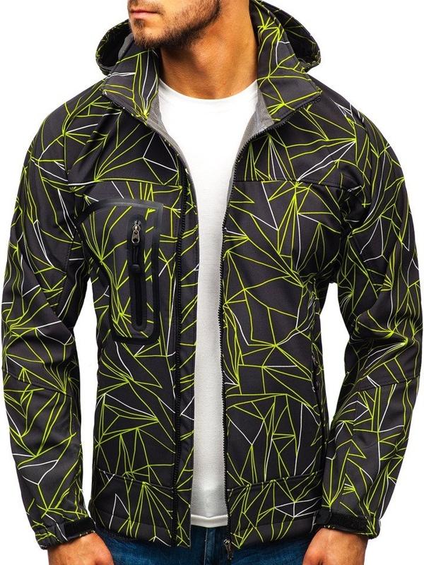 Čierno-zelená pánska softshellová bunda BOLF T109T