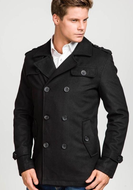 Čierny pánsky zimný kabát BOLF 306