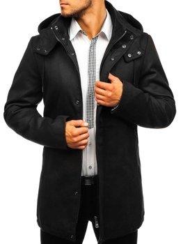 Čierny pánsky zimný kabát BOLF 5440