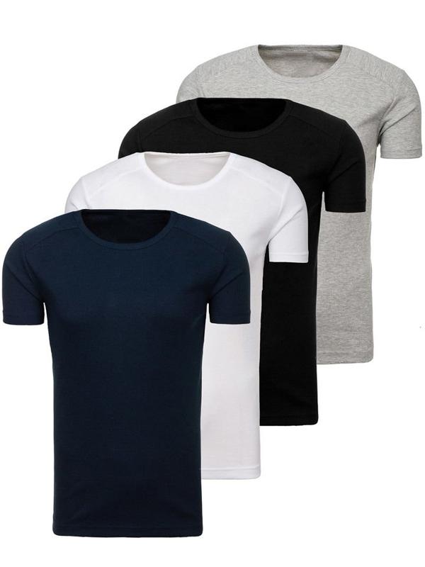 Farebné pánske tričko bez potlače BOLF C3065-4P 4 KS
