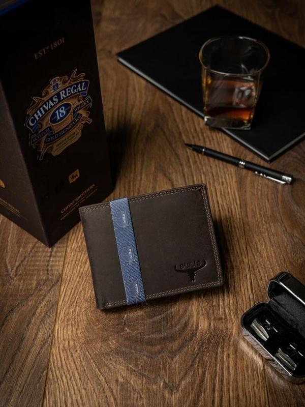 Hnedá pánska kožená peňaženka 2222