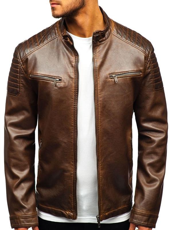Hnedá pánska koženková bunda BOLF EX802