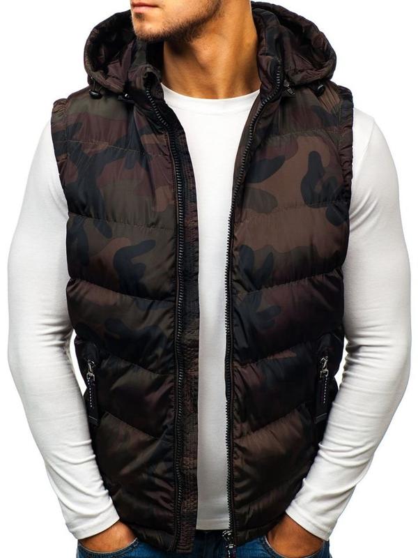 Maskáčovo-hnedá pánska vesta s kapucňou BOLF 4786