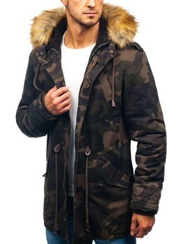 Maskáčovo-khaki pánska zimná bunda parka BOLF AM711
