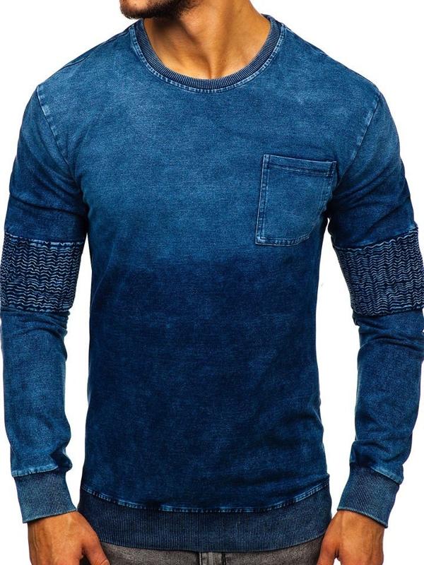 Modrá pánska mikina bez kapucne Bolf KK1029