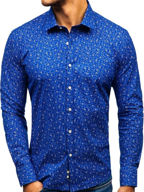Modrá pánska vzorovaná košeľa s dlhými rukávmi BOLF 201G64