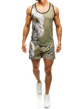 Pánsky plážový komplet plážové tričko + zeleno-tmavomodré kúpacie šortky BOLF 2117