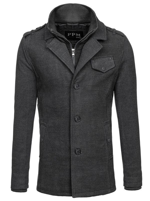 Šedý pánsky kabát Bolf 8853F