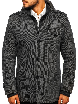 Šedý pánsky zimný kabát BOLF 88801