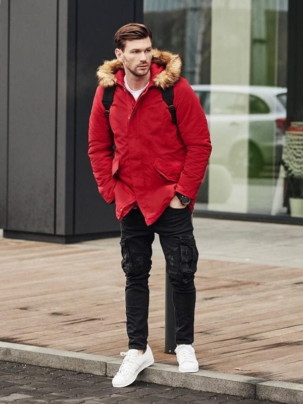 Štylizácia č. 391 - hodinky, zimná bunda parka, nátelník s potlačou, jogger nohavice