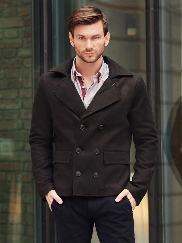 Štylizácia č. 394 - pánsky krátky kabát, elegantná košeľa, chinos nohavice