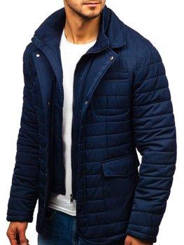 Tmavomodrá pánska elegantná zimná bunda BOLF EX201
