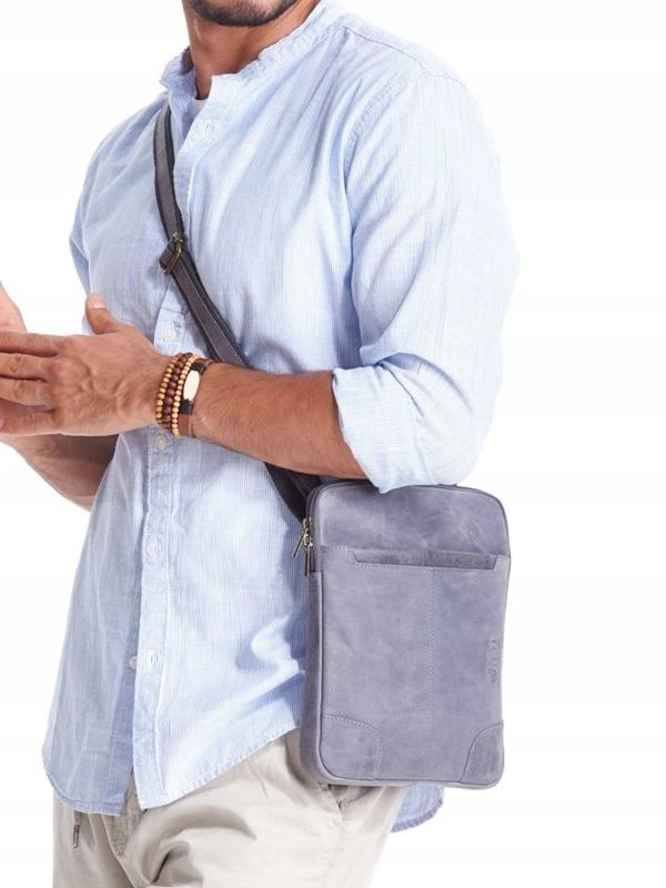 Tmavomodrá pánska kožená taška 2372